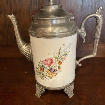 Floral graniteware coffee pot