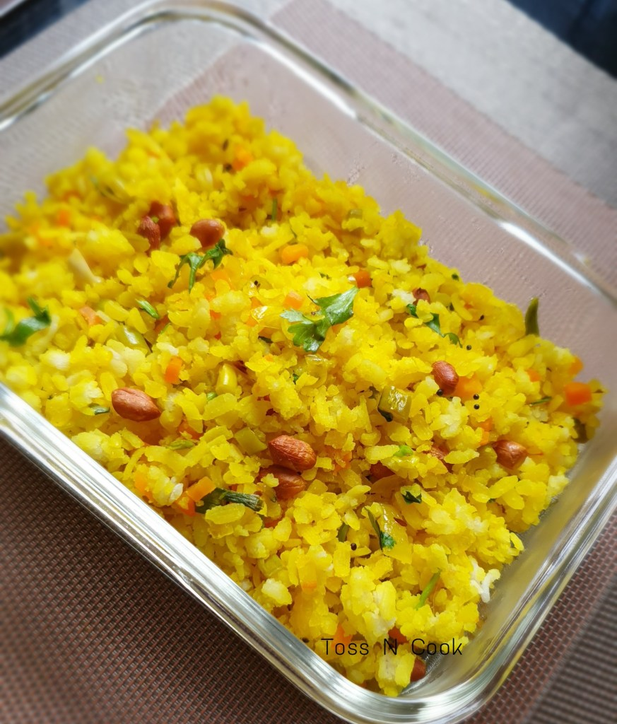This is how vegetable poha looks when served.