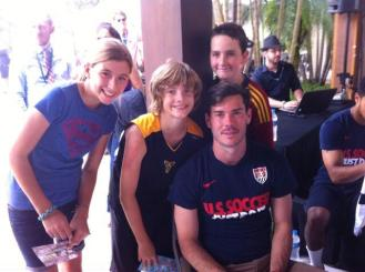 Gwen, Adam, and Jack with Seattle's Brad Evans.