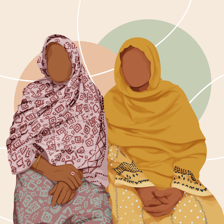Illustration of two women from Bangladeshi community