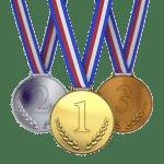 金メダルから銅メダルの3つのメダル
