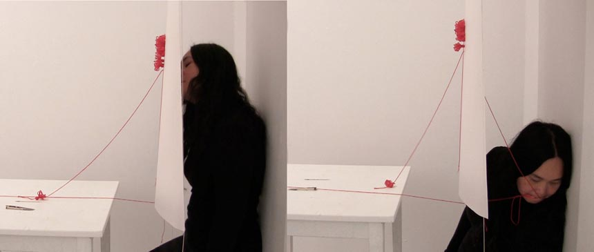 Chuyia Chia, A thread of red - sewing, Rostrum Gallery, Malmö Sweden, video by Chuyia Chia 2012_web