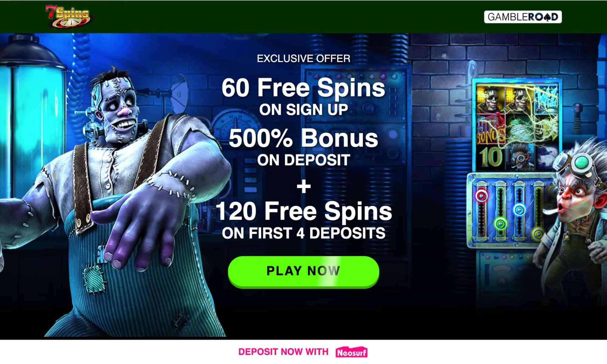 7 Spins Casino - Vip Sign Up Bonus Of 500% + Free Spins