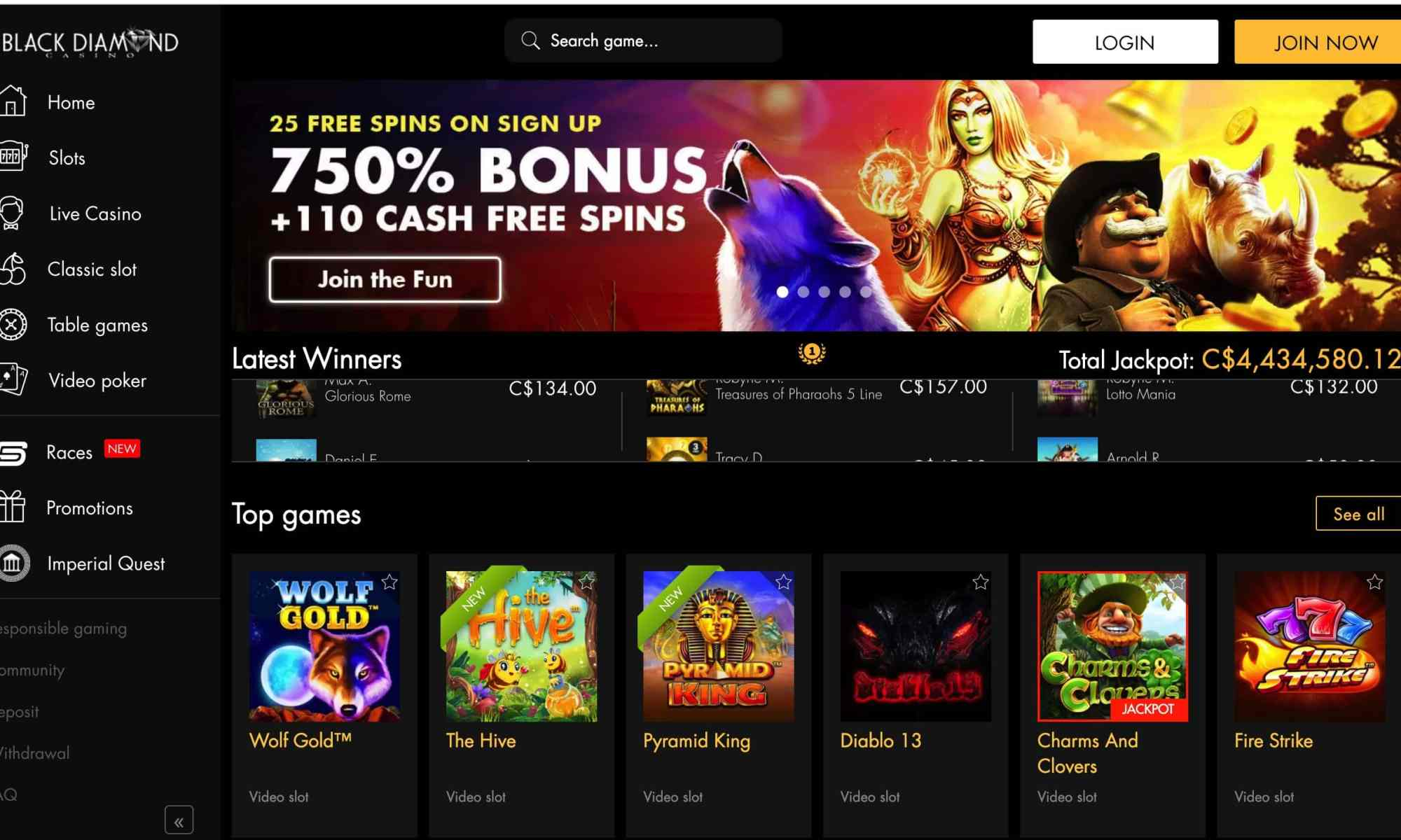 Black Diamond Casino - Get 675% Deposit Bonus + 25 Free Spins