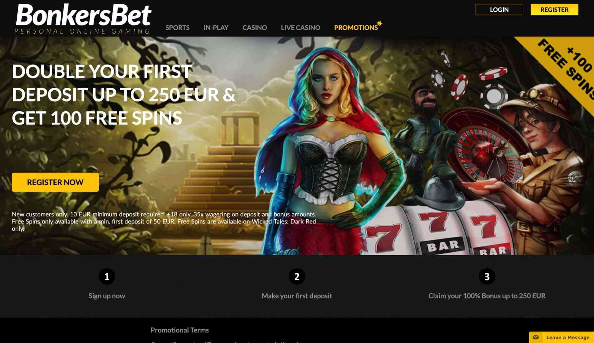 BonkersBet Casino - 200% match plus plus 100 free spins!