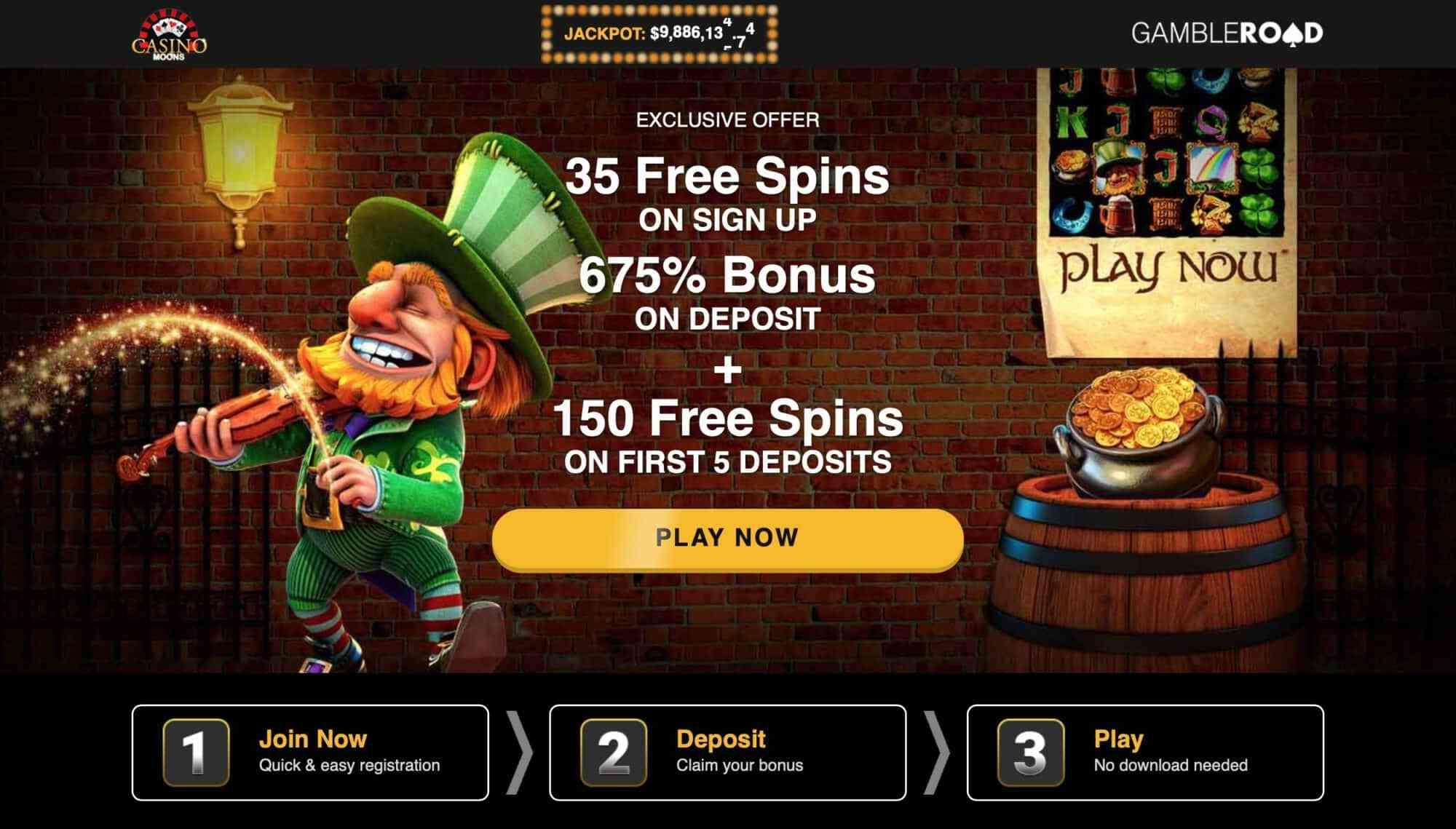 Casino Moons - Get 33 Free Spins + 675% Deposit Bonus