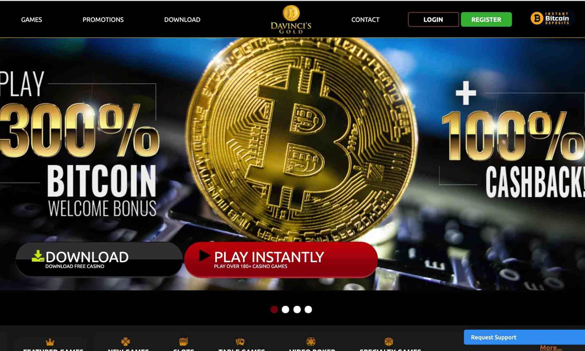 DaVinci's Gold Casino - 300% bitcoin bonus + 100% cashback