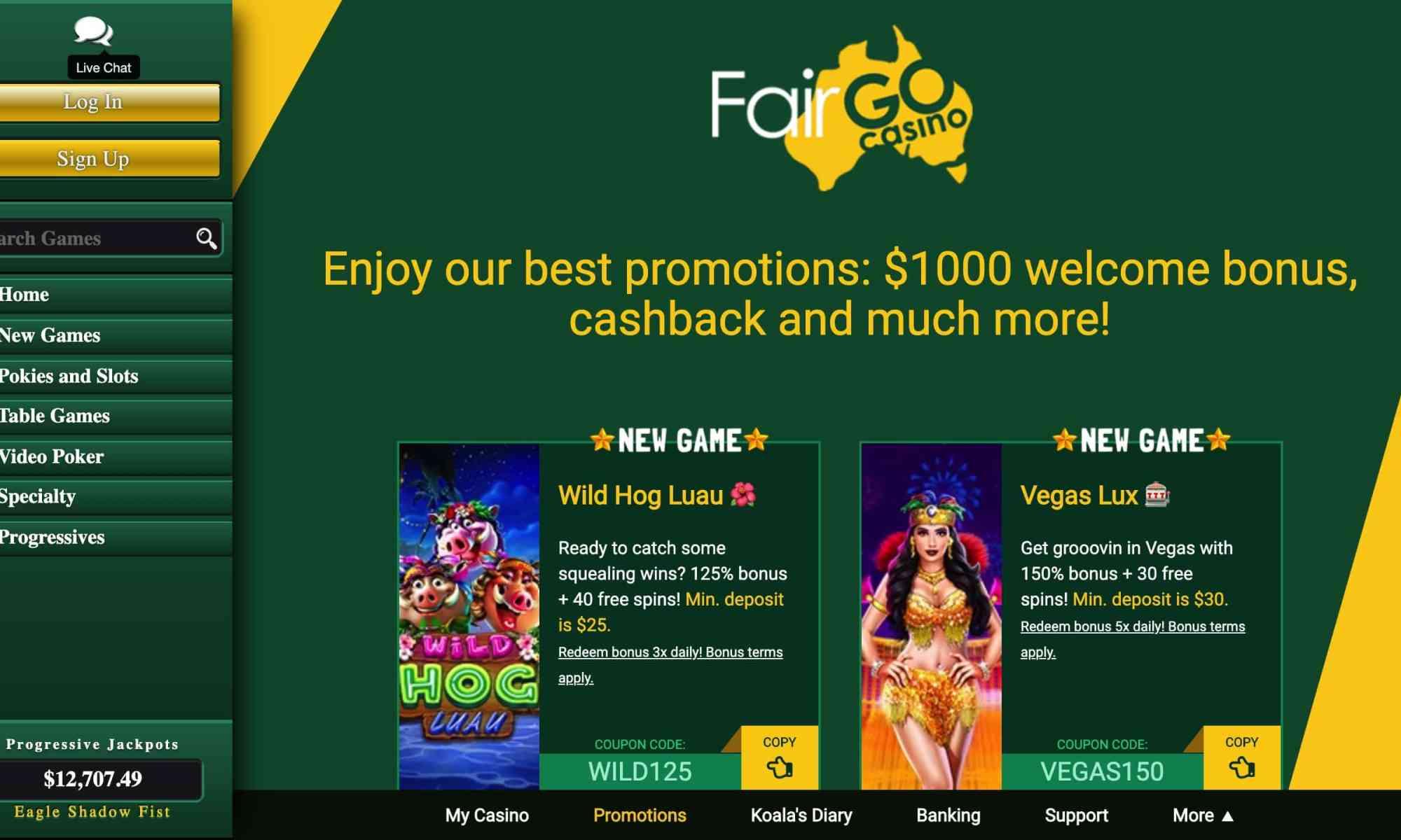 Fair Go Casino - 100% bonus of up to $200 X5!