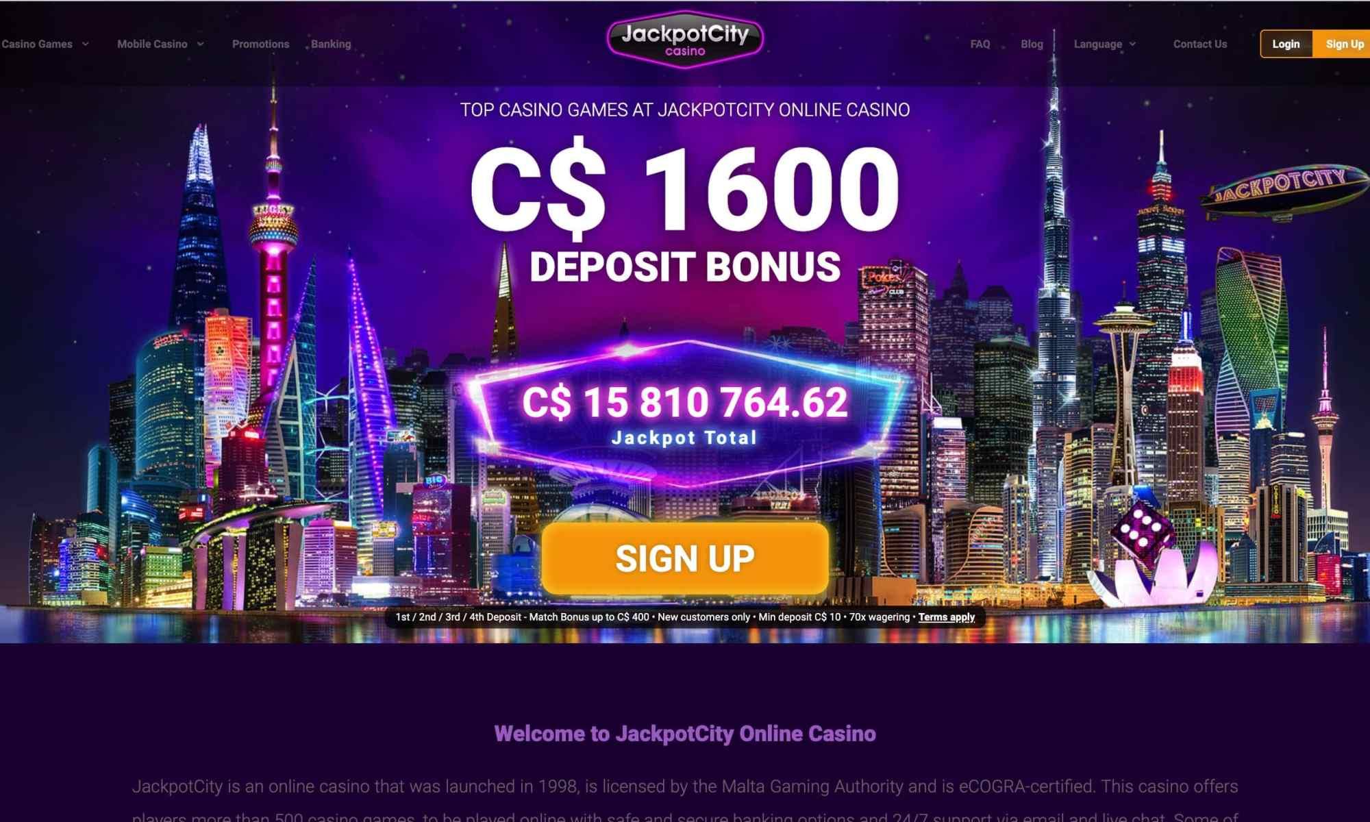Jackpot City Casino - get $1,600 deposit match bonus