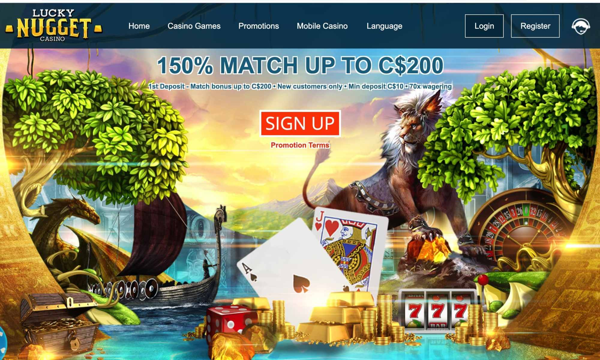 Lucky Nugget Casino - 150% deposit bonus of up to $200