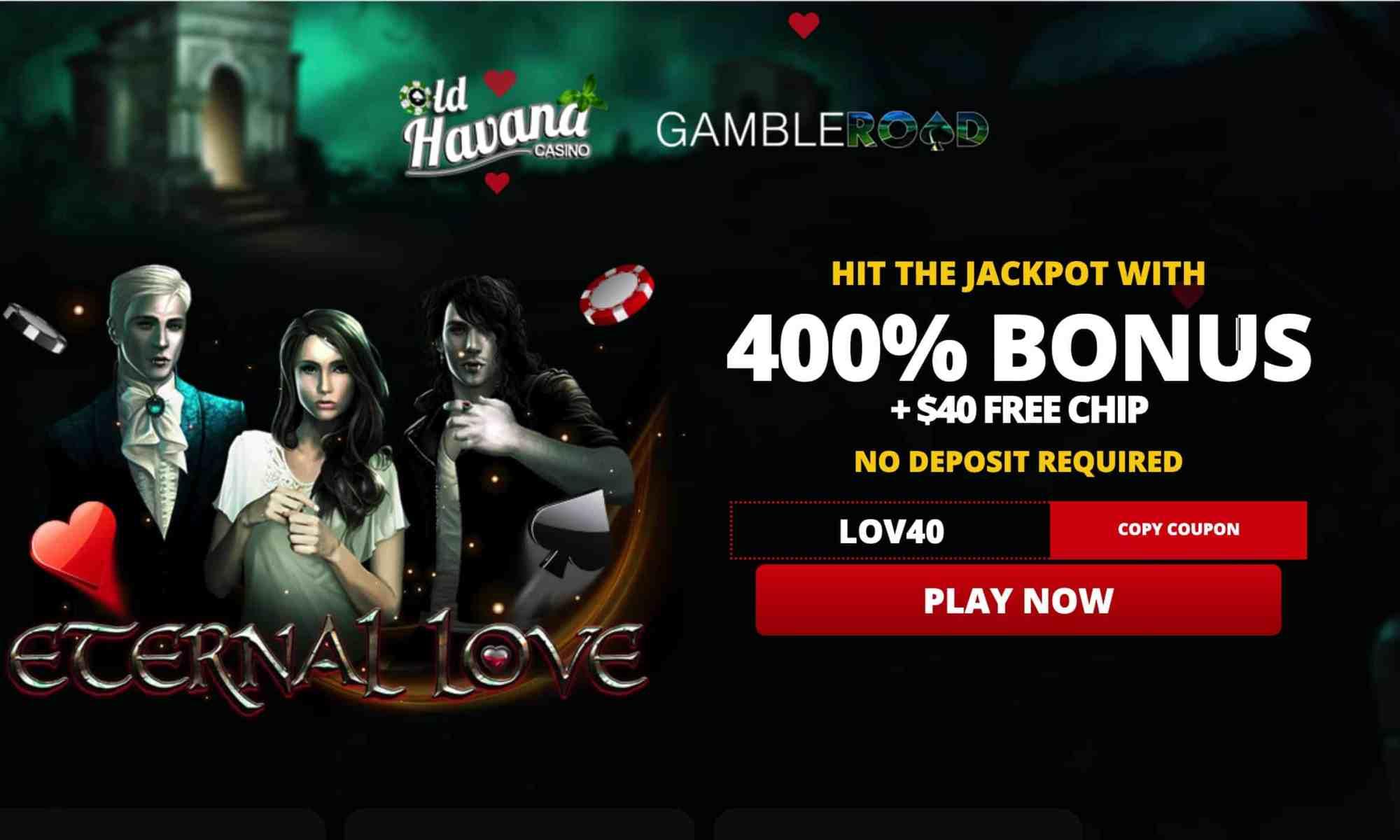Old Havana Casino - $40 free chips + 400% bonus