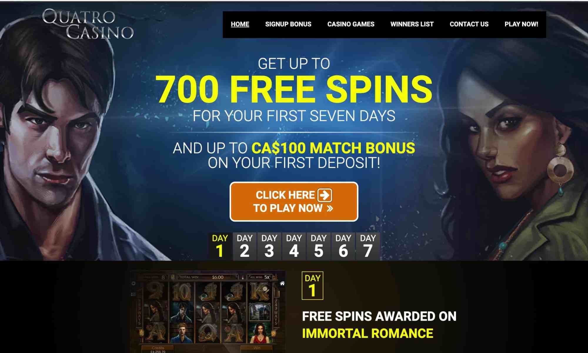 Quatro Casino - big gaming hall with 700 spins special offer