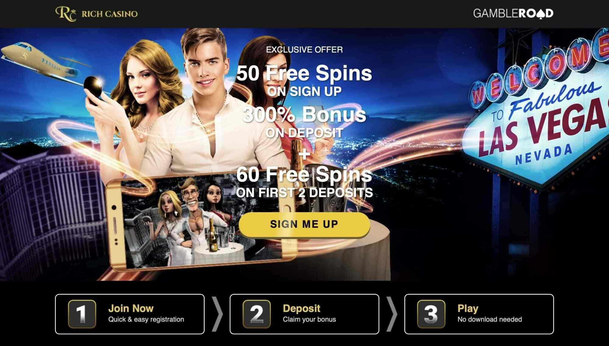 Rich Casino - Get 50 Free Spins + 300% Deposit Bonus