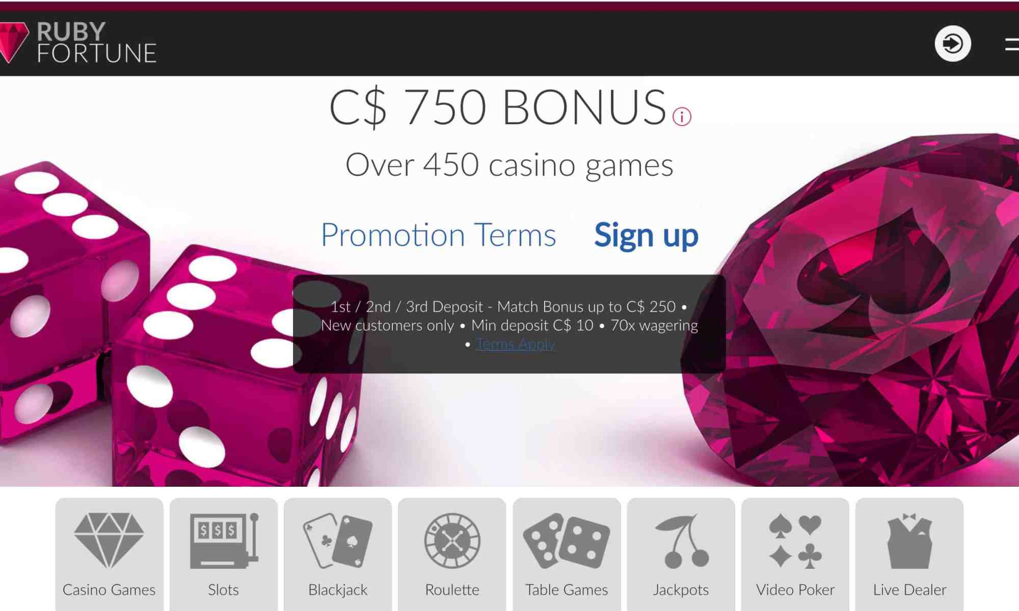 Ruby Fortune Casino - get a $750 free deposit bonus