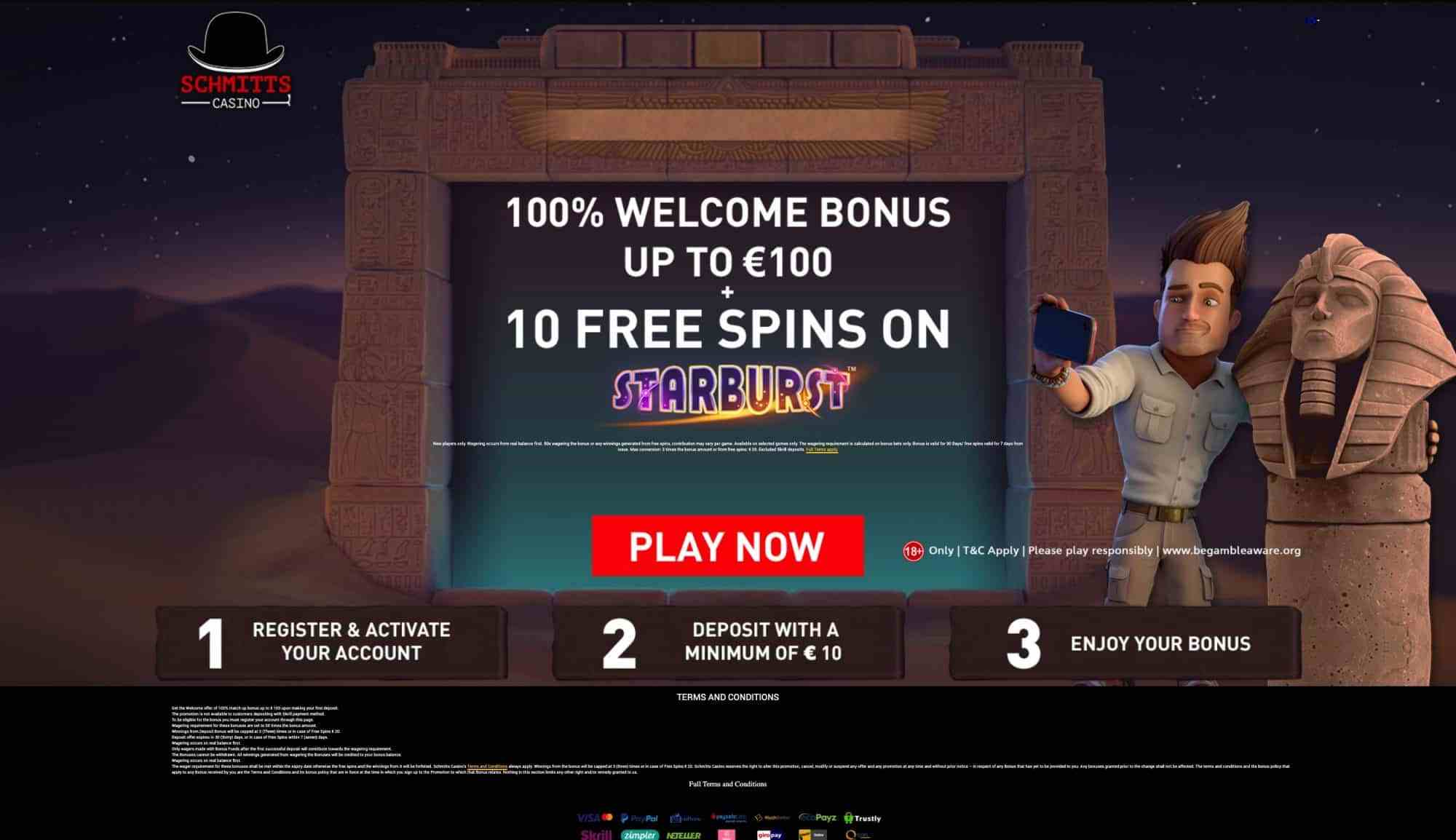 Schmitts Casino - Get 100% match bonus plus 10 free spins