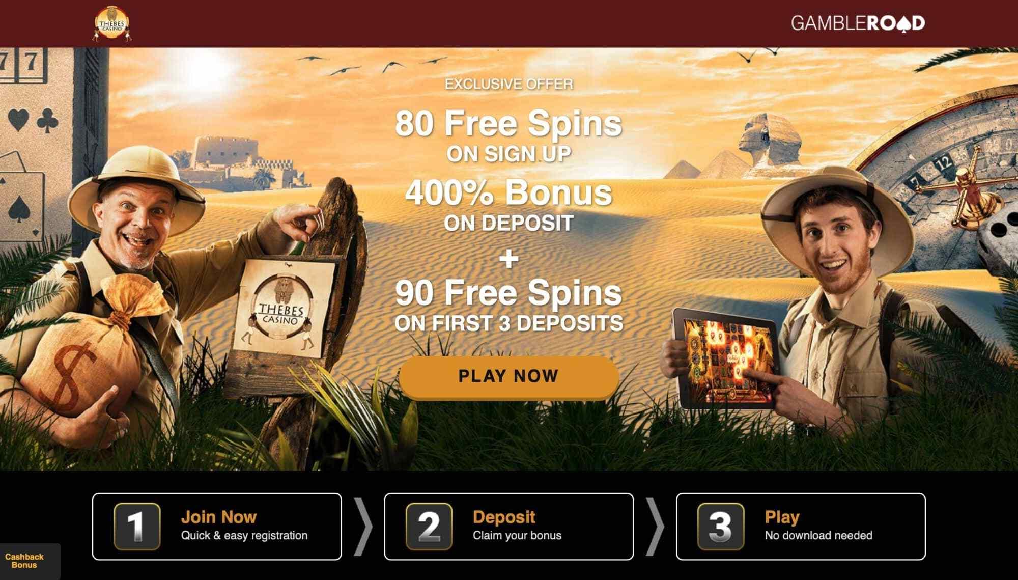 Thebes Casino: Get 80 Free Spins + 400% Deposit Bonus