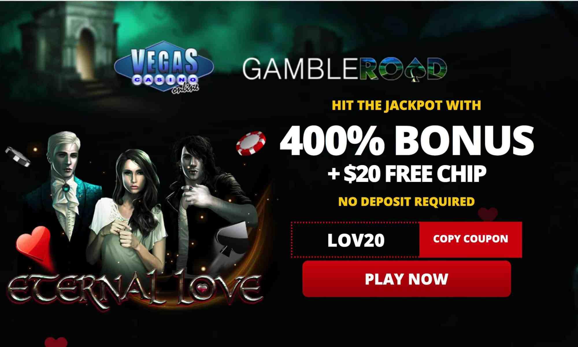 $20 Free Spins Plus 400% Match Bonus
