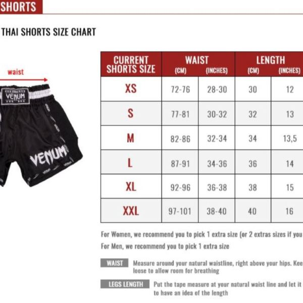 venum muay thai shorts size guide total combat sports