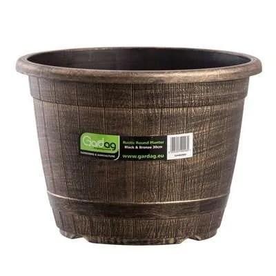 Gardag-Rustic-Round-Planter-Black-Bronze-30cm