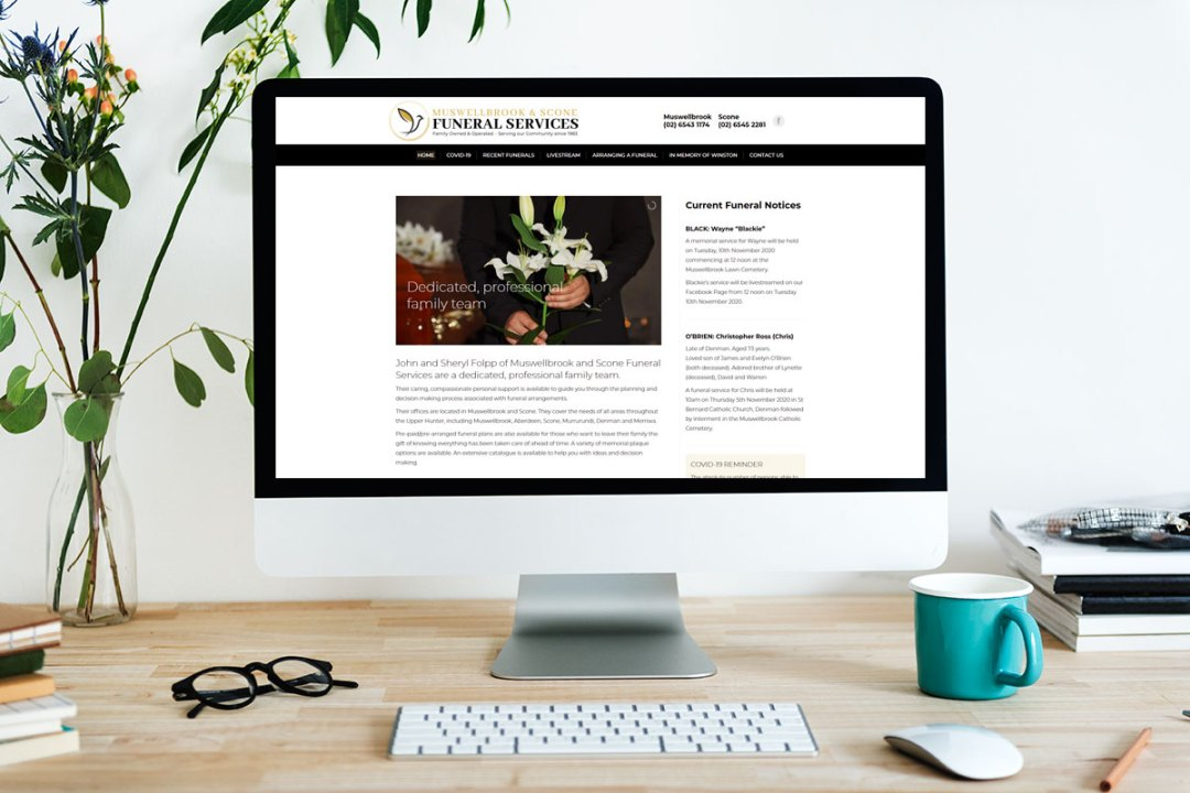 web design muswellbrook and scone funeral services