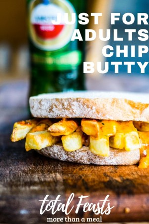 Just for adults chip butty, a spicy twist on a British classic. With hot french fries and a spicy sauce, it is a perfect naughty treat for a cold day.