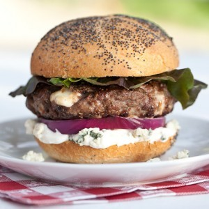 Black and Blue Burger. Photo by the Wisconsin Milk Marketing Board
