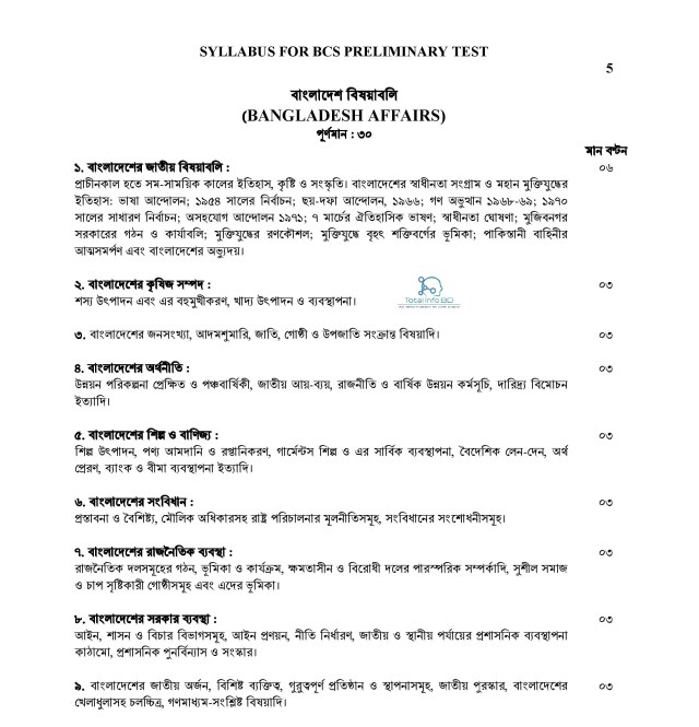 Syllabus For BCS Preliminary Test