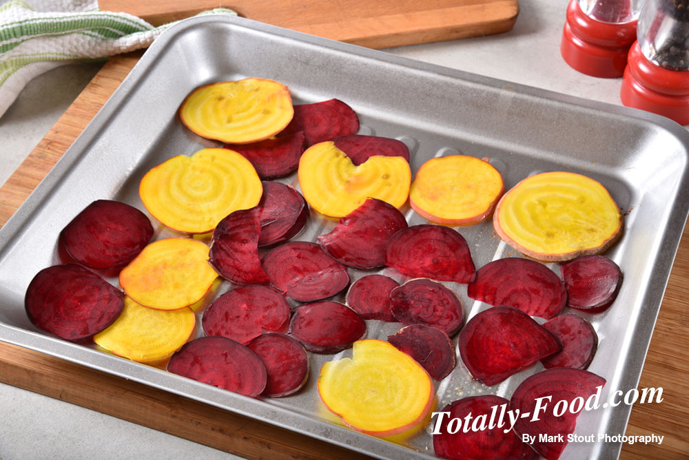 Sliced beets in a baking pan
