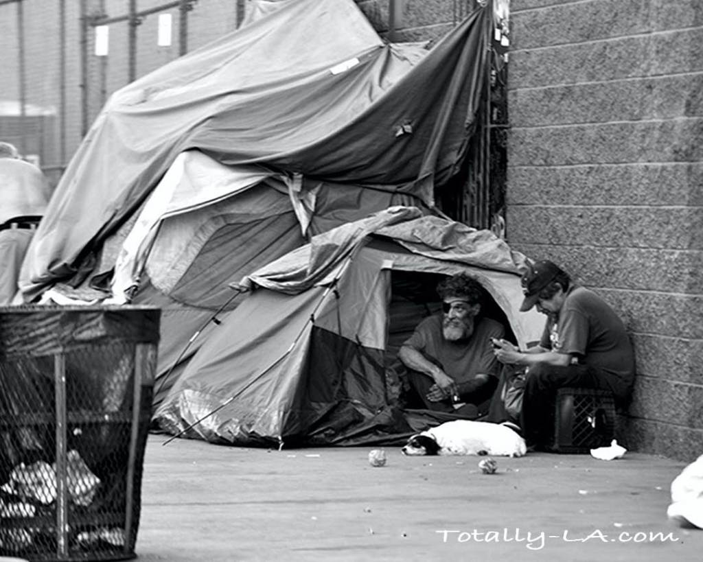 Homeless men on skid row