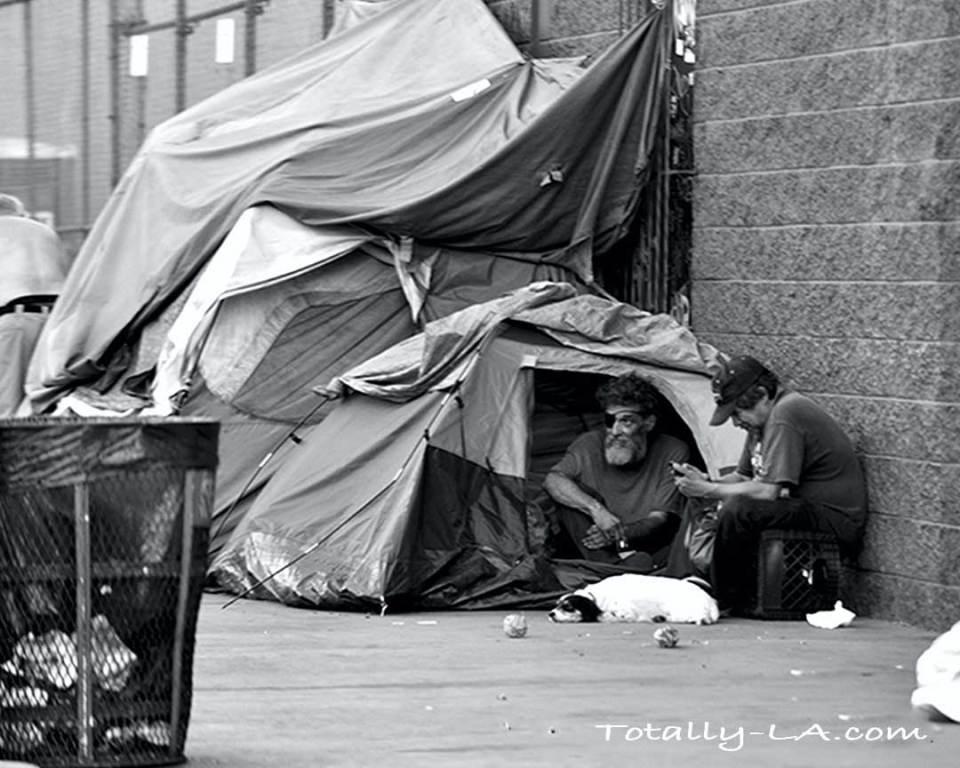 Homeless men on skid row
