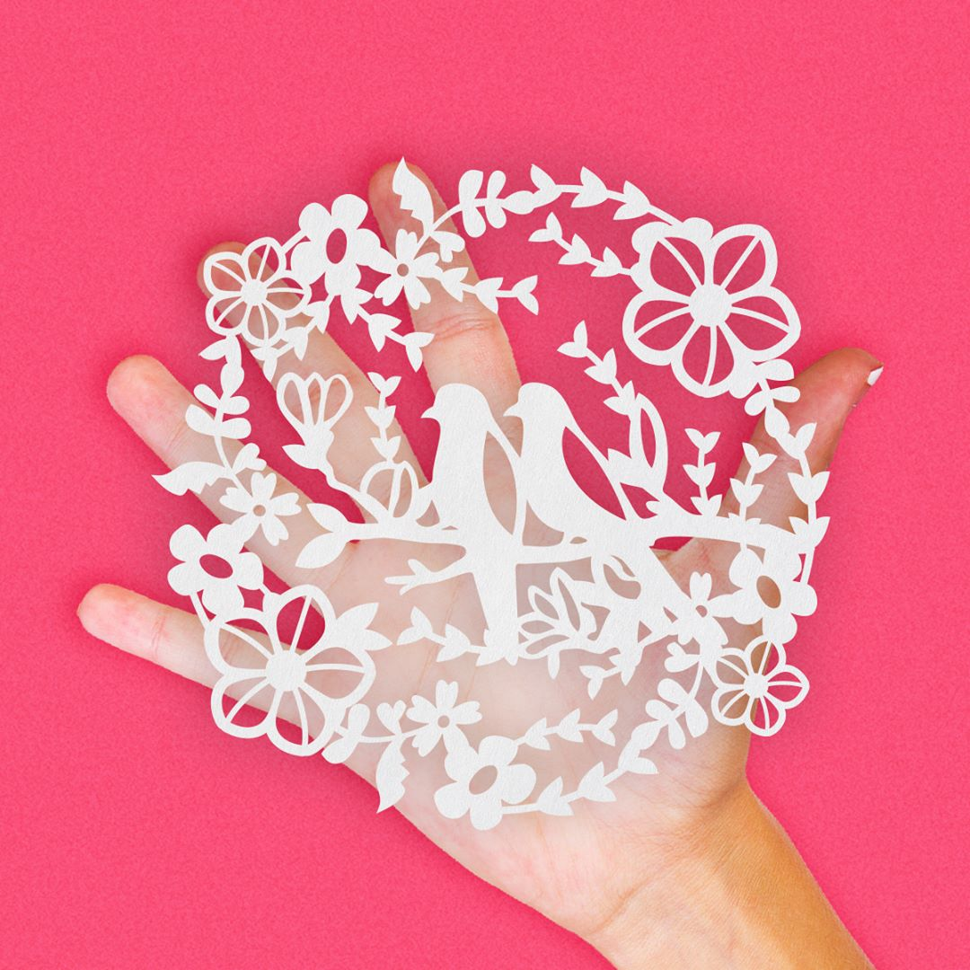 Highly Intricate Love Birds Floral Leaves Decoration Paper