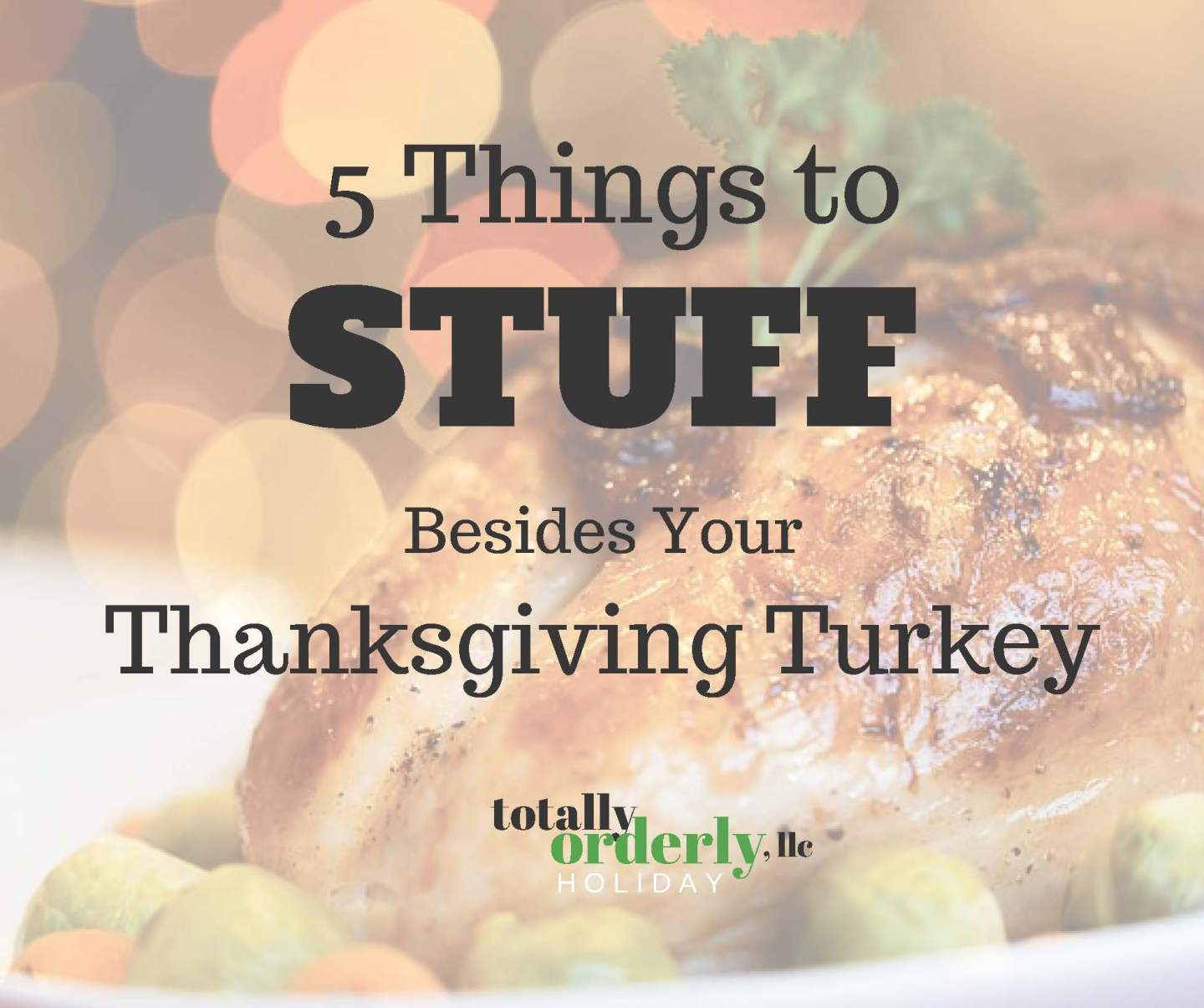 A picture of a thanksgiving turkey with the words 5 things to stuff besides your turkey