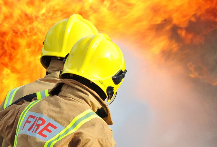 Royal Navy Firefighters Tackling a Blaze