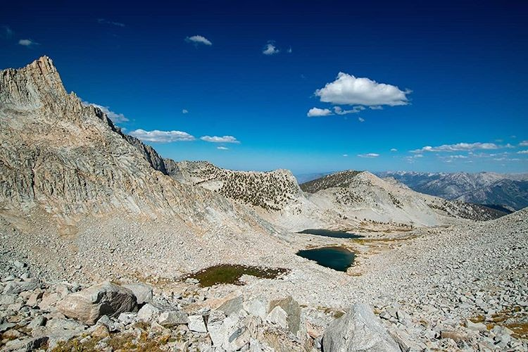 The Sphinx Crest and Sphinx Lakes. A look back down one of the most mentally fatiguing routes I've ever hiked.