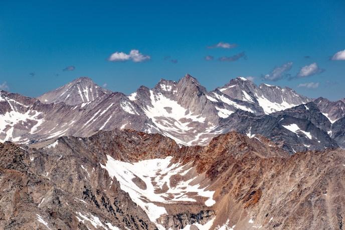 Mt Gabb, Bear Creek Spire, and Mts Dade, Abbott, and Mills.