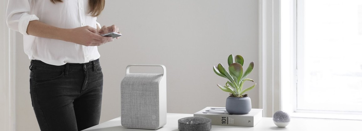 Vifa Oslo wireless speaker in pebble grey from Totally Wired