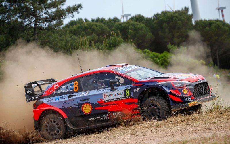 Ott Tanak Hyundai i20 Coupe WRC Rally Italia Sardegna 2021 Day 1 Leader