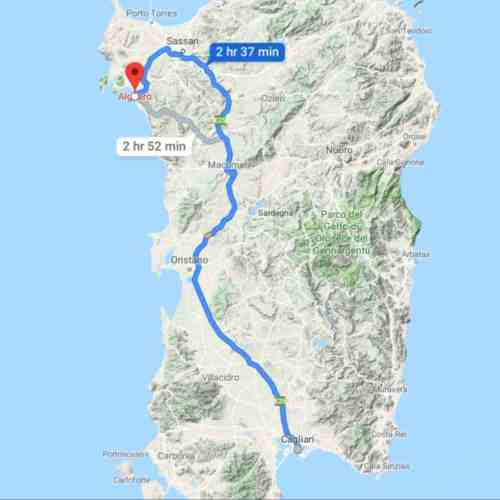 a map view of driving from cagliari to alghero