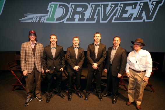 CONCORD, NC - JANUARY 24:  (L-R) Drivers Travis Pastrana, Trevor Bayne, Ricky Stenhouse Jr., Carl Edwards and Greg Biffle of Roush Fenway Racing pose for a picture with Jack Roush during the 2013 NASCAR Sprint Media Tour on January 24, 2013 in Concord, North Carolina.  (Photo by Streeter Lecka/Getty Images for NASCAR)