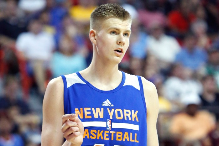 Kristaps Porzingis of the New York Knicks is seen during an NBA Summer League game against the San Antonio Spurs Saturday, July 11, 2015, at the Thomas & Mack Center in Las Vegas. (NY Post Photo/Bizuayehu Tesfaye)