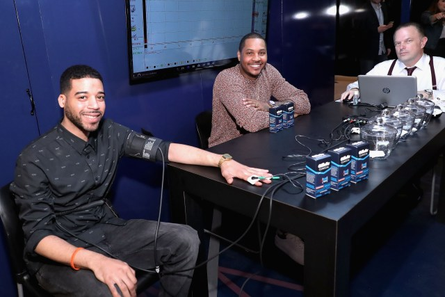 "Gillette Clinical Clear Gel ""Pressure Chamber"" with Carmelo Anthony at Vanderbilt Hall at Grand Central Terminal on April 28, 2016 in New York City. *** Local Caption *** Carmelo Anthony"