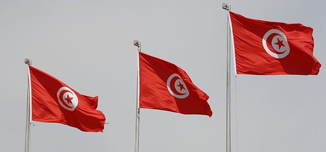 Flag of African country Tunisia
