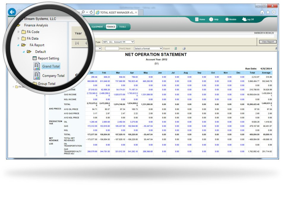Oil and gas financial software interface