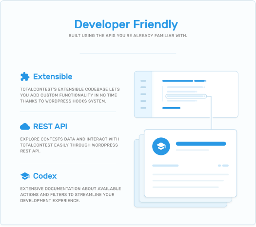 Developers support, extensibility, REST API and codex in TotalContest WordPress contest plugin.