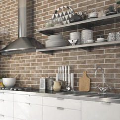 Brick Effect Kitchen Wall Tiles With Pantry Cabinet Boutique Style Cheap Online Prices Baker Street