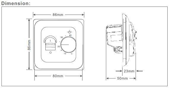 Manual Electric Underfloor Heating Thermostat