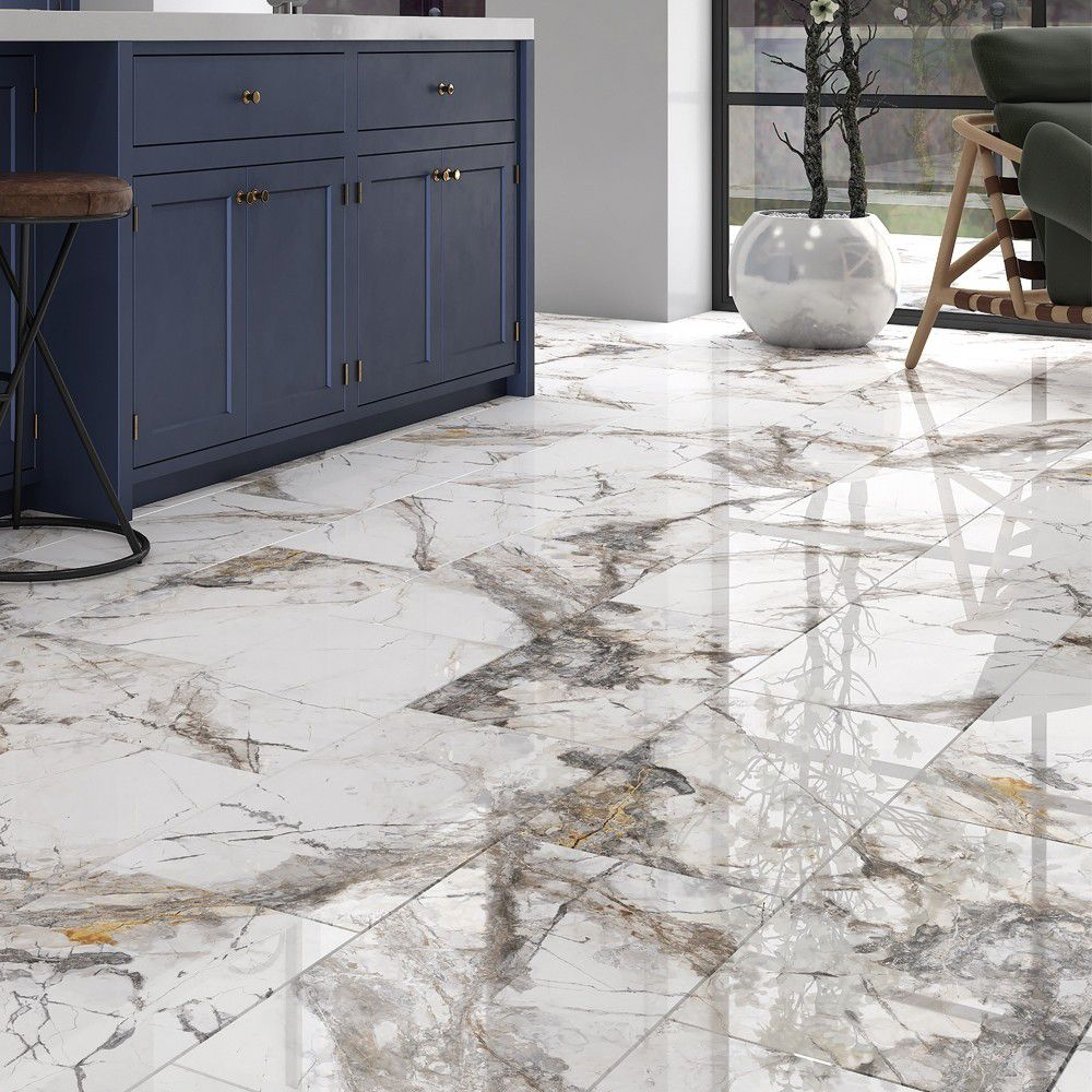 milan polished marble effect porcelain wall and floor tile