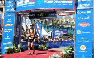 Chris Standidge crossing the finish line