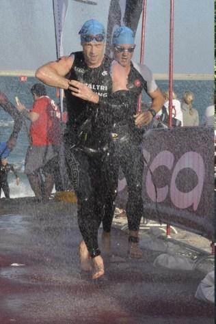 Tony Cullen exiting the swim