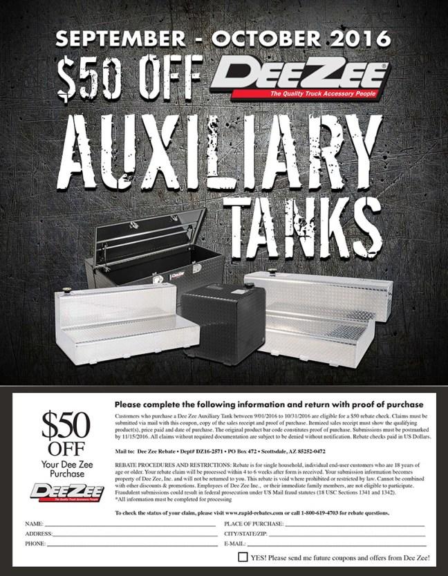 Dee Zee Auxiliary Tank Rebate